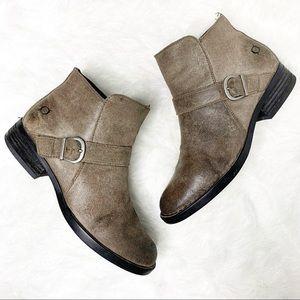 BORN Grey Ozark Burnished Leather Ankle Bootie 8.5